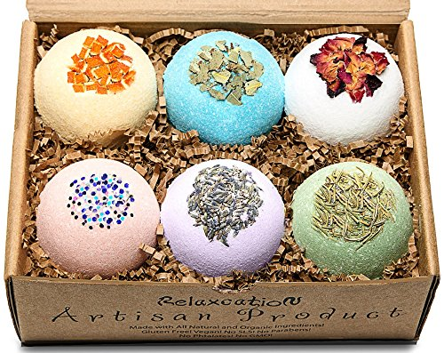 Valentine's Day Organic Bath Bombs Gift Set Large 4.5 oz/each –Luxury & Natural Ingredients - Safe for Kids – Relaxing Epsom Himalayan & Dead Sea Salt,Lush Essential Oil – Handmade in USA - Spa Fizzie (Kid Friendly Halloween Baking)