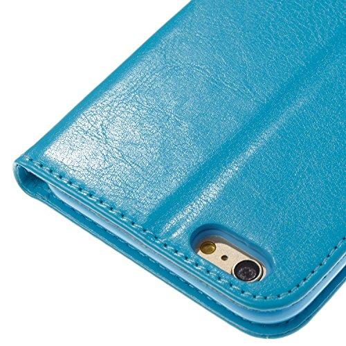 Para Apple iPhone 6s Plus(5.5 Zoll ) funda, (azur) Narcisos caja del teléfono de la PU patrón en relieve ,Función de Soporte Billetera con Tapa para Tarjetas correa de mano soporte para teléfono azur