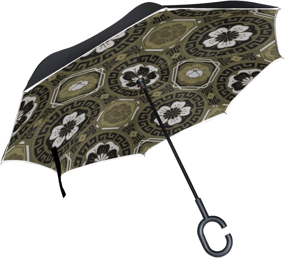 Double Layer Inverted Inverted Umbrella Is Light And Sturdy Traditional Asian Ornamental Motive Japanese Reverse Umbrella And Windproof Umbrella Edge