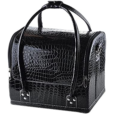 AW Black 11x9x10  Crocodile Makeup Cosmetic Train Bag Handbag Case w/ Removable Tray Jewelry Ring
