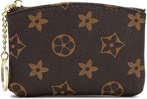 Style 4 - Brown Luxury Zip Checkered Coin Pouch PU Vegan Leather Mini Key Chain Purse Wallet