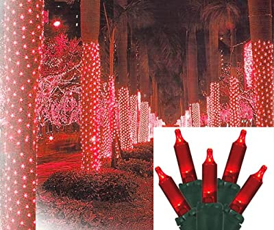 2' x 8' Red LED Net Style Tree Trunk Wrap Christmas Lights - Green Wire