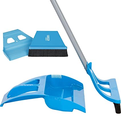 WISP Cleaning Set - One Handed Telescoping Broom with Electrostatic Bristle  Technology and Self Sealing Foot Operated Dustpan & Bonus Whisk Hand Brush