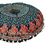 Third Eye Export - 32 in Mandala Barmeri Large Round Floor Pillow Cover Cushion Meditation Seating Ottoman Throw Cover Hippie Decorative Zipped Bohemian Pouf (Blue 4)