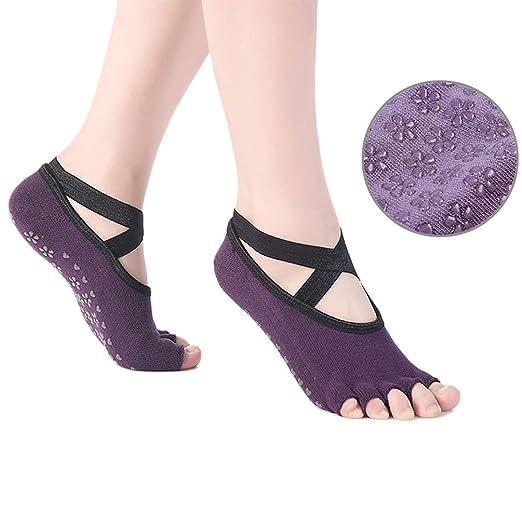 ACORRA Calcetines de Yoga con Empuñadura, Calcetines de ...
