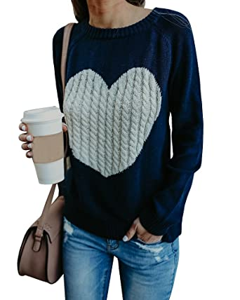 Farktop Womens Sweaters Long Sleeve Cable Knit Love Heart Pullover