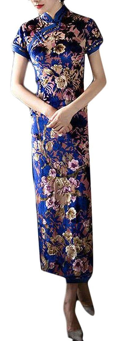bluee Yayun Yayu Womens Floral Printed Sheath Cheongsam Slim Long Qipao Dress