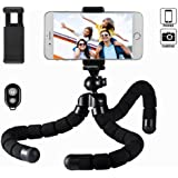 Xiner Mini Flexible Octopus Tripod with Bluetooth Remote Shutter and Universal Phone Holder for iphone Smartphone and Camera