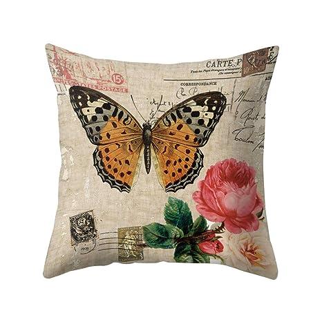 Funda de cojín con diseño de Flores y pájaros: Amazon.es: Hogar