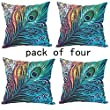 WUWE Beautiful Peacock Tail Personalized 18x18 Inch Square Cotton Blend Linen PillowCase Decor Cushion Covers 【PACK of Four】