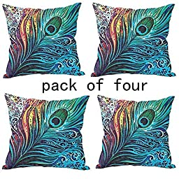 WUWE® Beautiful Peacock Tail Personalized Square Cotton Blend Linen PillowCase Decor Cushion Covers 18x18 Inch (PACK of Four)