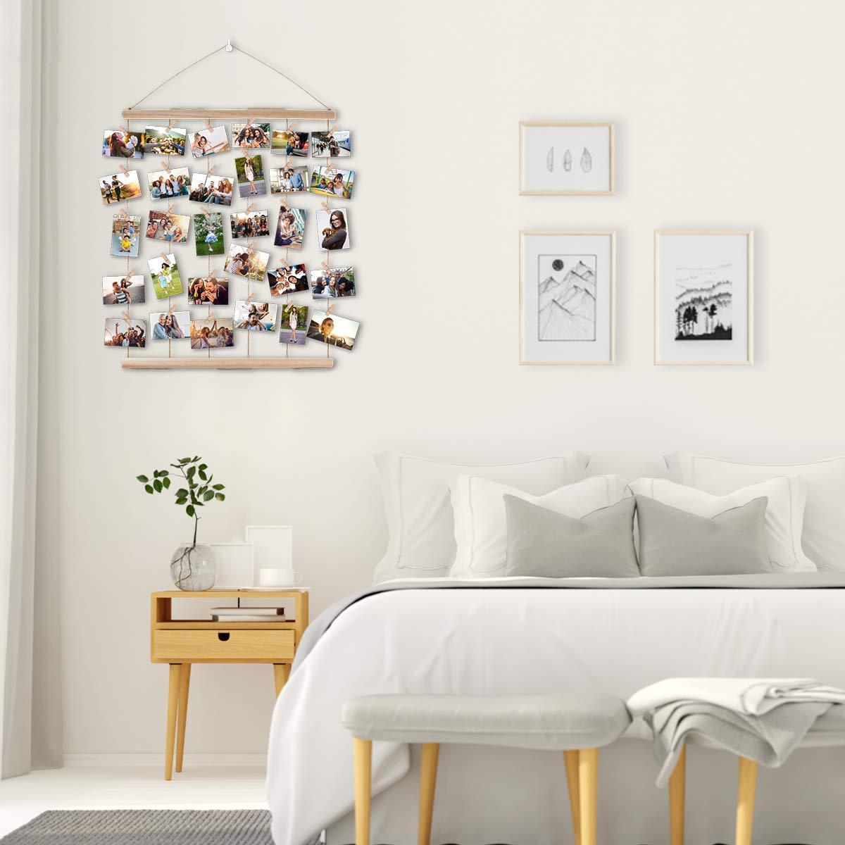 AIEVE Colgar pantalla de fotos,madera colgar marcos de pantalla de fotos,colgar en la pared organizador de fotos con clips para la decoraci/ón de la pared fotos