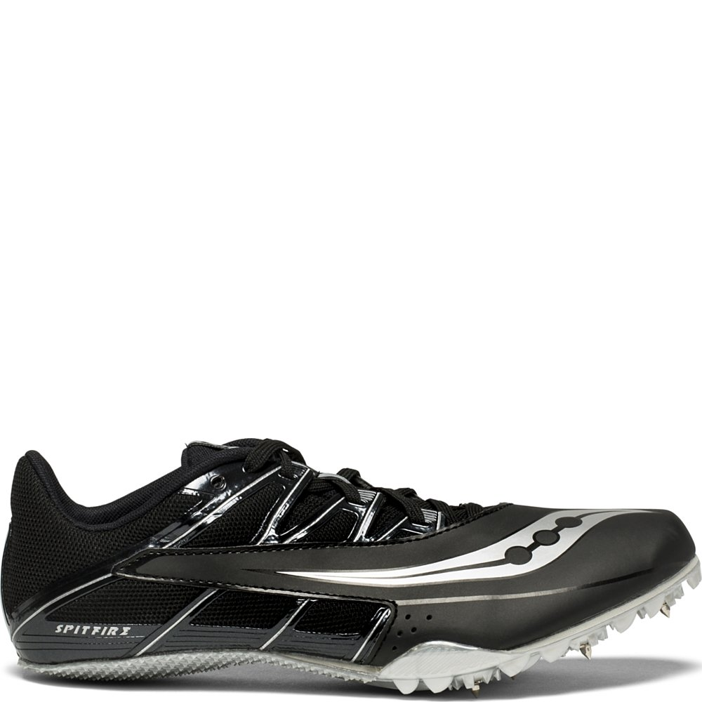 Saucony Men's Spitfire 4 Track and Field Shoe, Black/Silver, 8 Medium US by Saucony