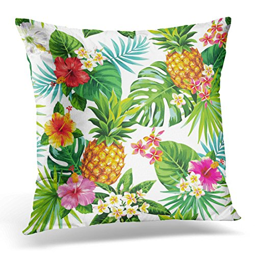 Flowers Aloha Tropical (Golee Throw Pillow Cover Summer Tropical Pattern with Pineapples Palm Leaves and Flowers Aloha Beach Decorative Pillow Case Home Decor Square 18x18 Inches Pillowcase)