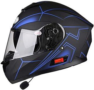 RANR Flip up Bluetooth Casco del Motociclo, Musica, Hands-Free, Senza Rumore, Multi-Funzionale Anti-Nebbia Doppio Specchio Casco, Casco off-Road,A,XXL