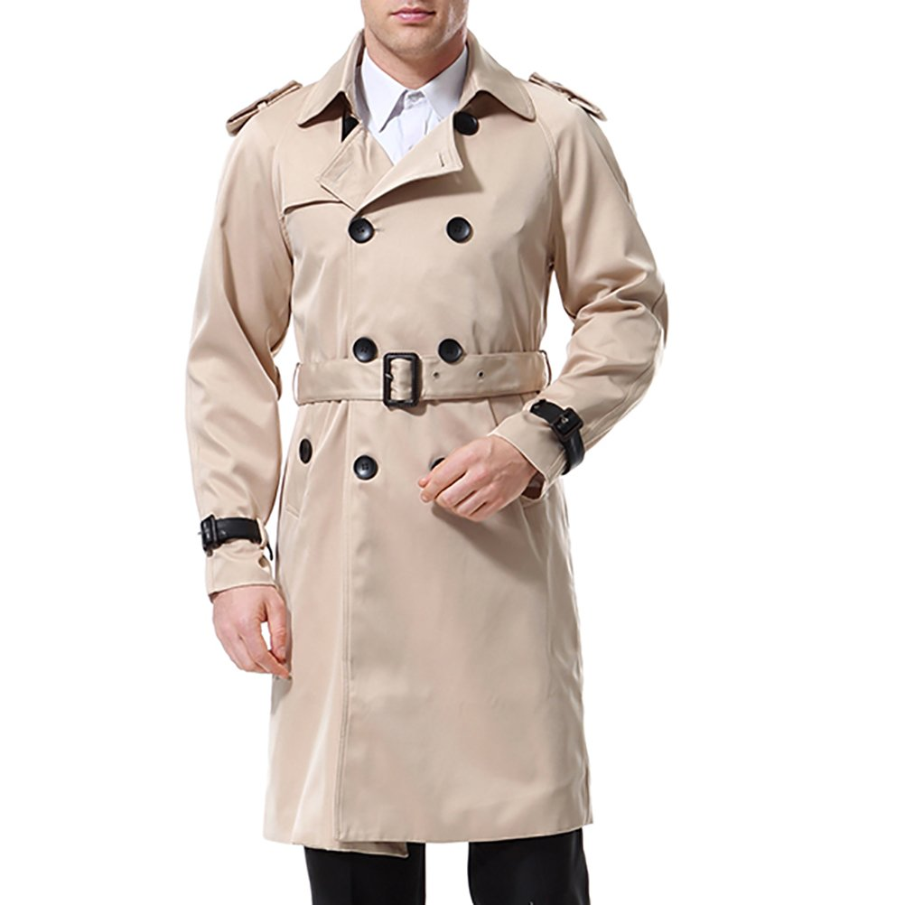 Men's Double Breasted Trenchcoat Stylish Slim Fit Mid Long Belted Windbreaker Khaki by AOWOFS