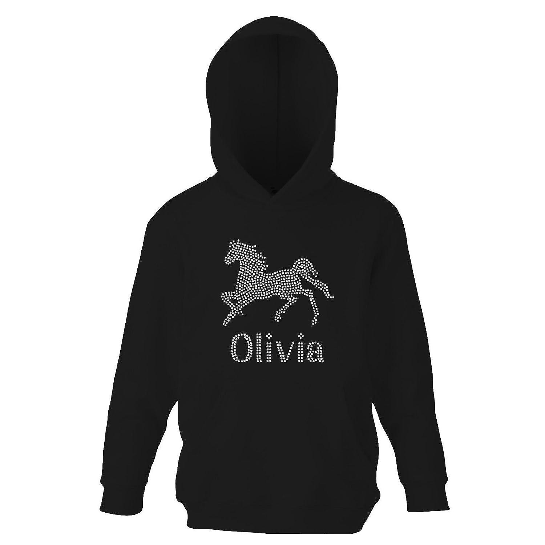 Girls Crystal HORSE Personalised Gymnast Hoodie Dance Leotard Hoody(K) By Varsany