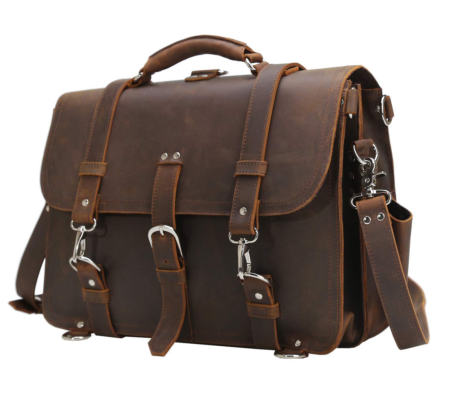 Polare Men's Full Grain Leather 16'' Laptop Briefcase Shoulder Messenger Bag by Polare (Image #2)