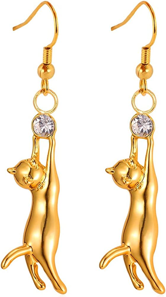 Stretching Cat Earrings /& Rose Gold Disc Rose Gold plated alloy disc earrings sunset feline silver alloy  tree earrings