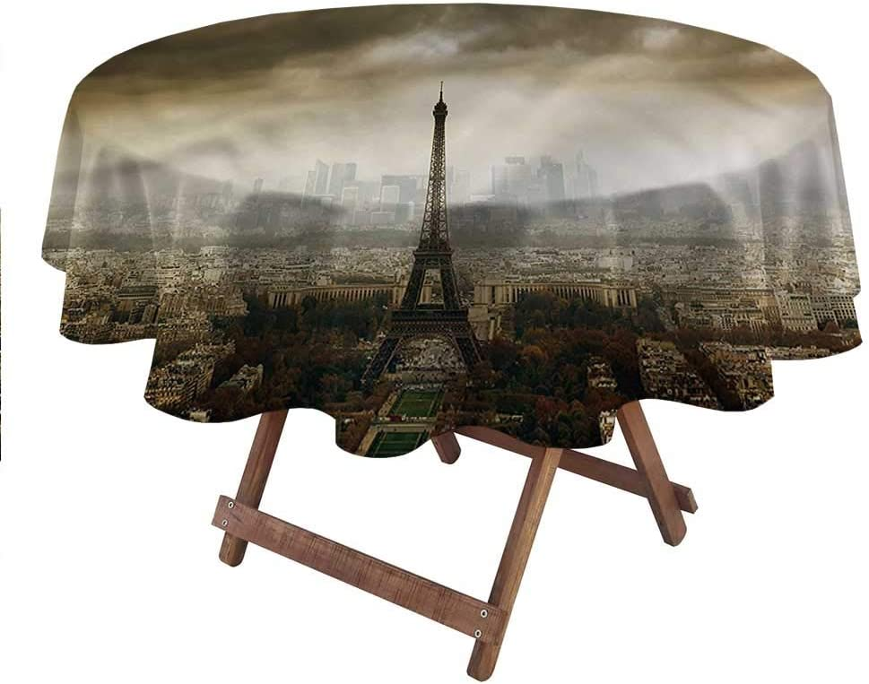 """carmaxsHome Round Outdoor Tablecloth Eiffel Tower for Everyday Indoor Outdoor Dining Paris Skyline City 70"""" Round"""