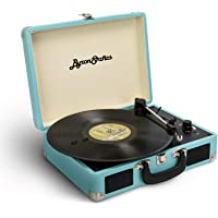 Byron Statics KCT-601  Turntable Record Player Speaker Portable Vinyl Player 3 Speed Dust Free Suitcase Autostop RCA Output AUX Input Headphone Jack Extra Stylus Free Audio Cable 9W Teal