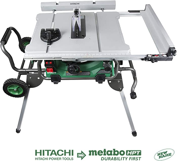 Hitachi C10RJ 10 inch Jobsite Table Saw with Fold and Roll Stand