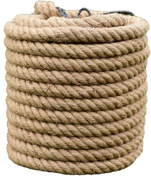 RKY Cuerda de c/á/ñamo 26mm 30mm 5-10 m Cuerdas de yute Cordel de c/á/ñamo natural Pa/ís r/ústico Artesan/ía Bricolaje Accesorios hechos a mano Nordic Home Decor Cat Pet Scratching Cuerda de seguridad