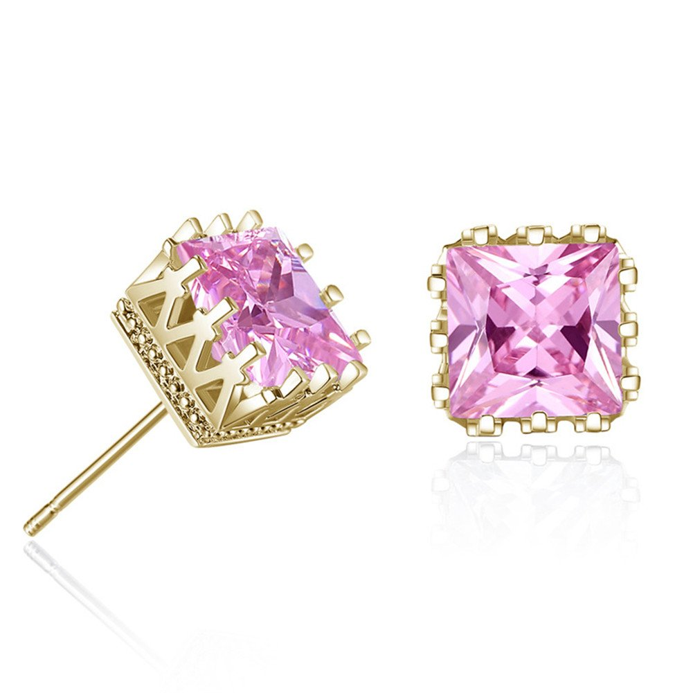 LXLP 925 Silver Square Shape Stud Earrings for Fashion Jewelry Teens/&Women and Girls 6mm