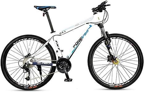 Bicicleta Montaña Bicicleta De Montaña, Marco De Aluminio De Aleación De Bicicletas Unisex, 27 De Velocidad Doble Disco De Freno Y Frente Tenedor, 26 Pulgadas De Radios De La Rueda (Color :