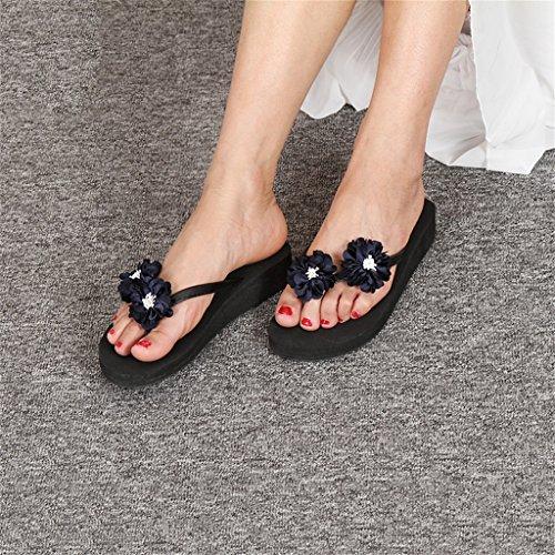 Flat zeppa Scarpe On Toe Clip fiori ragazza per nere Platform con Mid EVA Casual Sweet donna Flat vacanza Slipper scuro con in Beach Heel blu donna Sandalo 2cm estiva Slip qtwTxXxOB