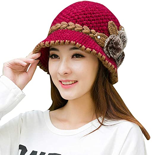 GOVOW Ears Hat Women Women Lady Winter Warm Crochet Knitted Flowers  Decorated 7be886f2cdc