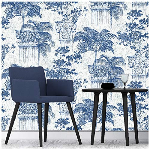 (HaokHome 1404 Tropical Palm Leaf Wallpaper White/Blue/Silver/Beige for Home Accent Wall Decor 20.8