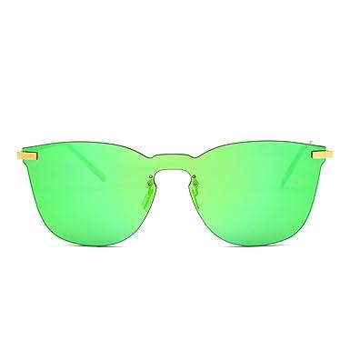 JIMHALO Randlos Verspiegelt Sonnenbrille Ein Stück Metall Flach Brille Herren Damen(Gold/Spiegel Pink) DM218T