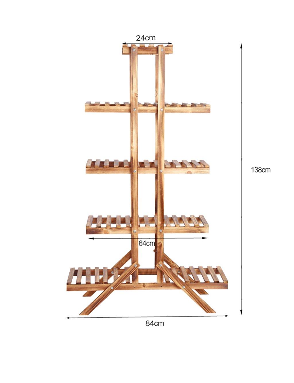 LB huajia ZHANWEI Massivholz Blumenregal Indoor DREI Schichten Fünf Ebenen Blumenregal Balkon Blumenregal (Farbe : B, größe : L*W*H: 84 * 26 * 138cm)