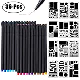 Bullet Journal Supplies, 24 Color Fineliner Pens and 12PCS Bullet Journal Stencil Notebook Diary Scrapbook DIY Drawing Templates Plastic Planner Kit