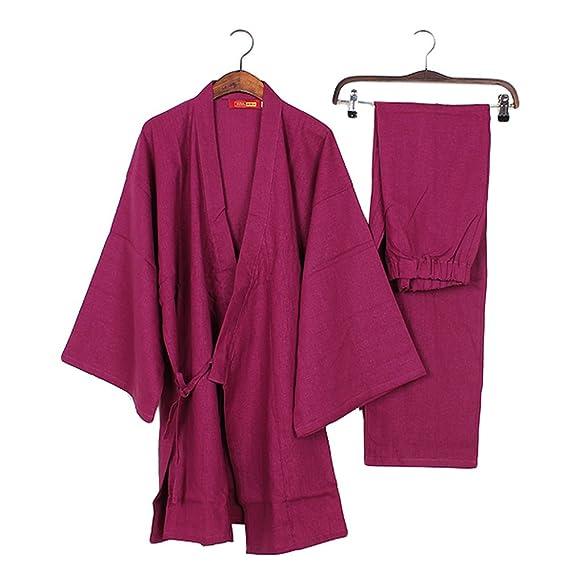 03-Men\'s Japanese Style Robes Pure Cotton Kimono Pajamas Suit ...