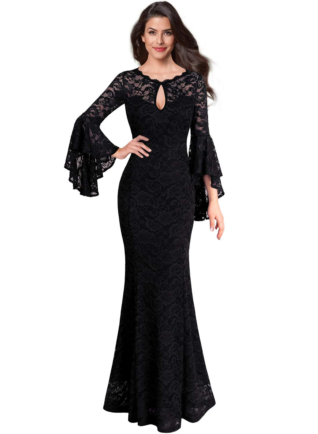 26a55231faf7 VFSHOW Womens Black Floral Lace Keyhole Front Ruffle Bell Sleeve Formal  Evening Wedding Maxi Dress 2376 BLK XS