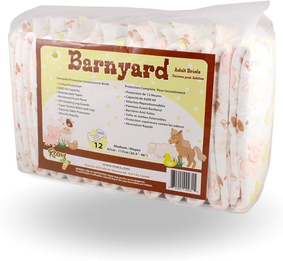 12 Pack Rearz Adult Diaper Barnyard Medium