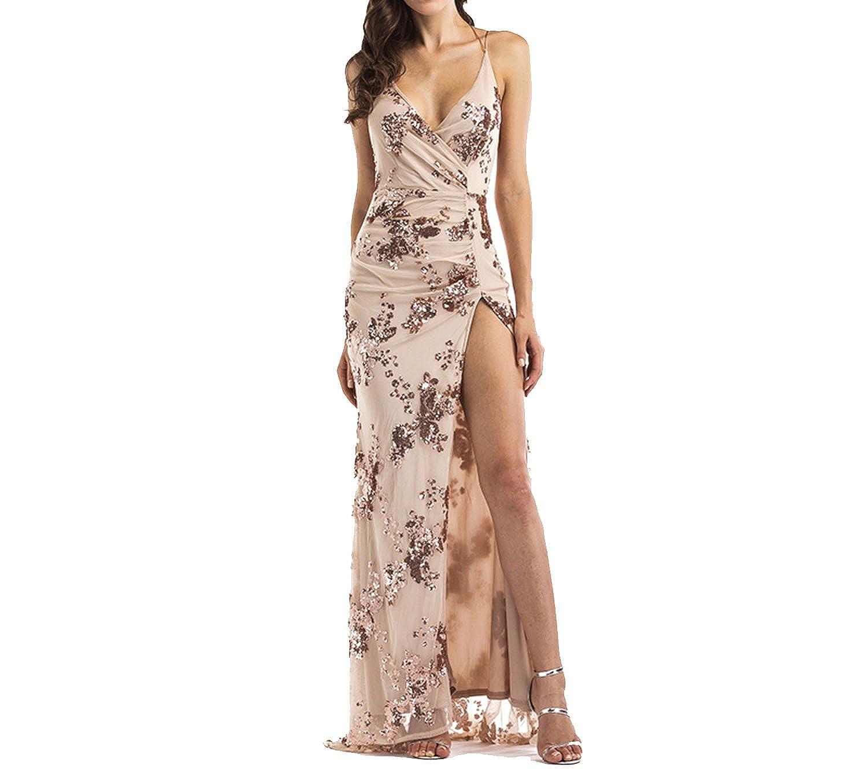Amazon.com: Sexy Luxury Gold Sequins Maxi Dress Summer Elegant Black V Neck Split Club Sleeveless Long Party DRE: Clothing