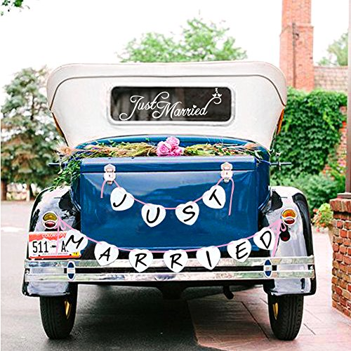 (Just Married Car Window Decal & Just Married Bunting Banner Bundle, Konsait Just Married Car Sticker (7×23in) with Garland Banner for Wedding Honeymoon Car Decoration Newlywed Wedding Gift)