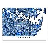 Sydney Map Print, Australia, City Art Poster, Blue