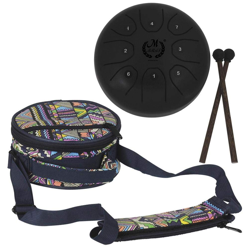Mmbat/Mebite 5.5 Inch Mini Steel Tongue Drum Mini 8-Tone C Key Percussion Instrument Hand Pan Drum (with 1 Knocking Stick + 1 National Style Drum Bag)