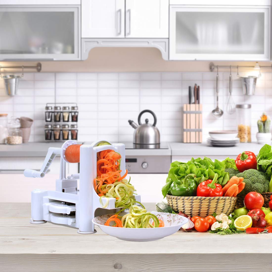 Fruits and Veggies Slicer for Low Carb Zucchini Spaghetti Maker Zoodle Flamen TRTAZ11A // Paleo//Gluten-Free Meals 5-Blade Vegetable Spiralizer