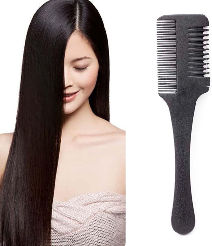 Peine con cuchilla de afeitar profesional de peluquería con mango negro