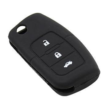 3 Botones para Llaves de Coche con tapa carcasa mando a distancia para Ford Fiesta, Focus, MONDEO, Ecosport Kuga Protector de silicona bolsa
