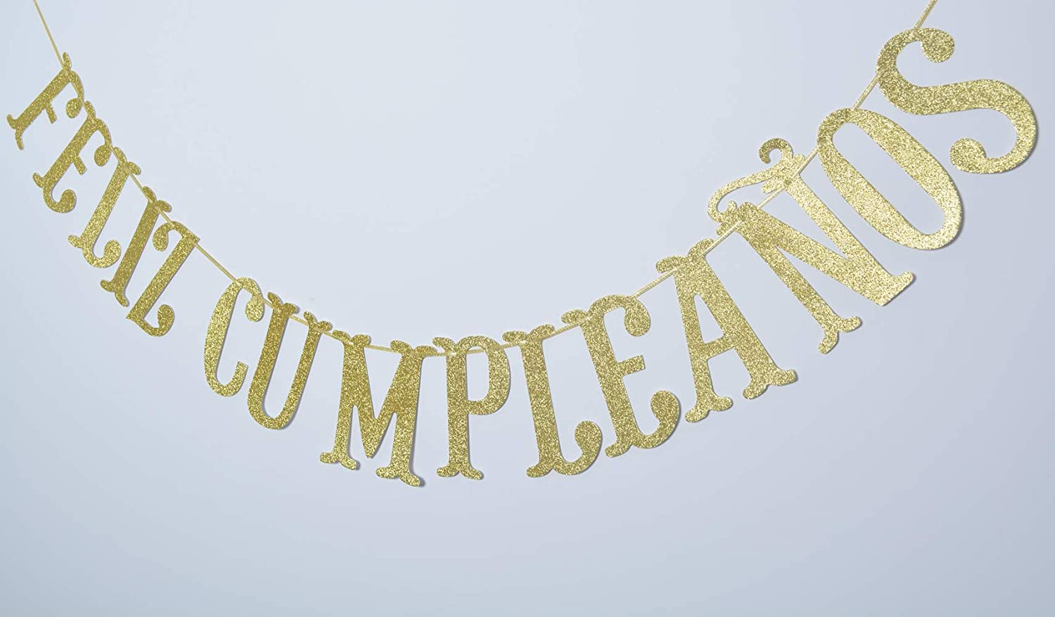 Gold Fiesta Theme Party Decorations Feliz Cumplea/ños Gold Glitter Banner-Happy Birthday