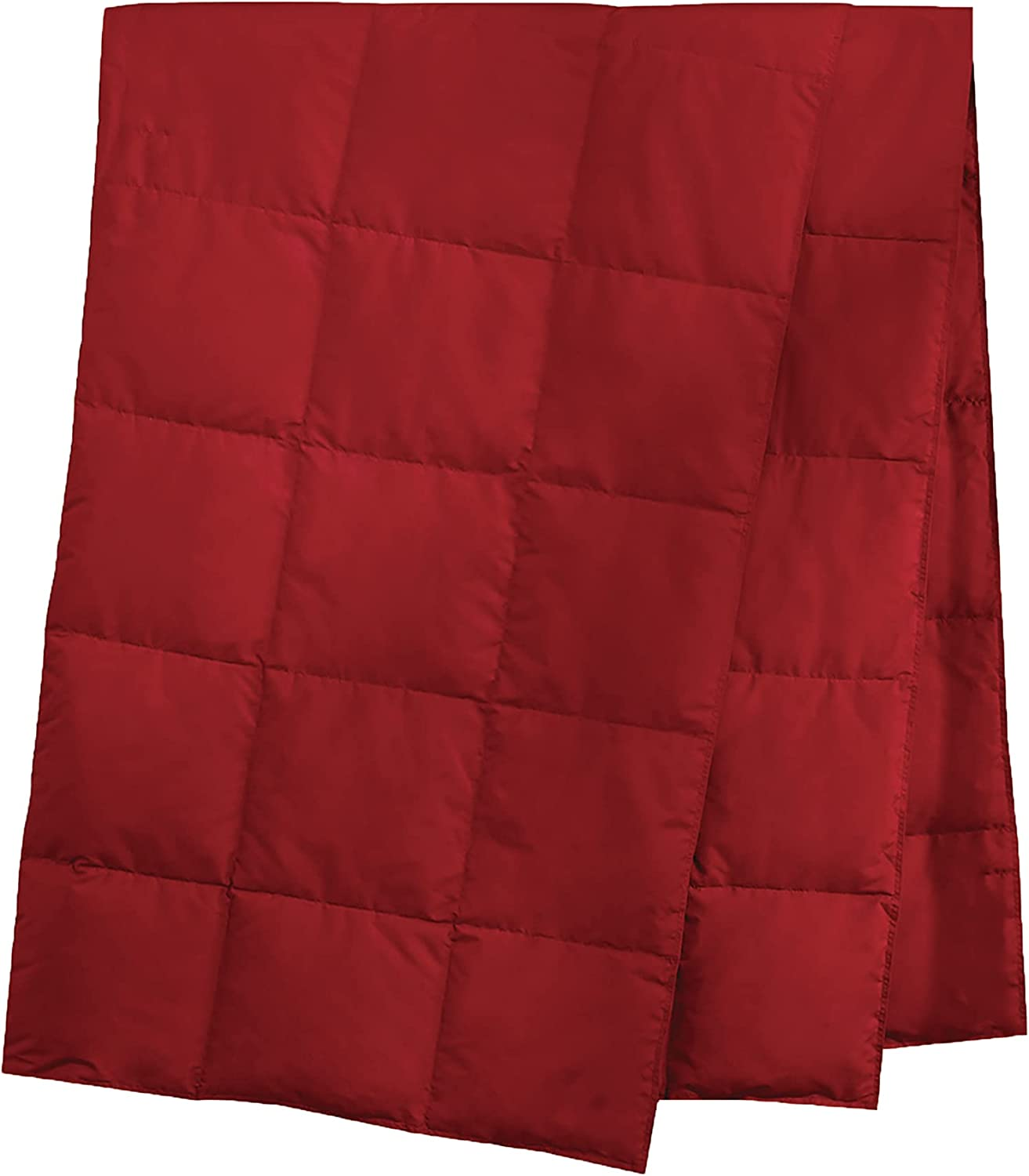 Lightweight Down Camping Blanket Packable Down Throw with Soft Peach Skin Fabric Navy 50 x 70