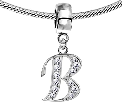 1363c696e Silver Pandora Inspired Charm Initials with CZ Crystals -European Charms,  beads - Fits all