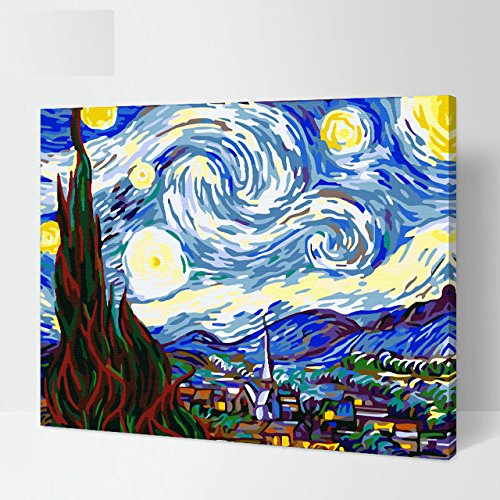 Faraway Starry Night by Van Gogh Oil Painting By Numbers Paint DIY Digital Coloring Wall Arts Pictures Room (Framed Canvas) -