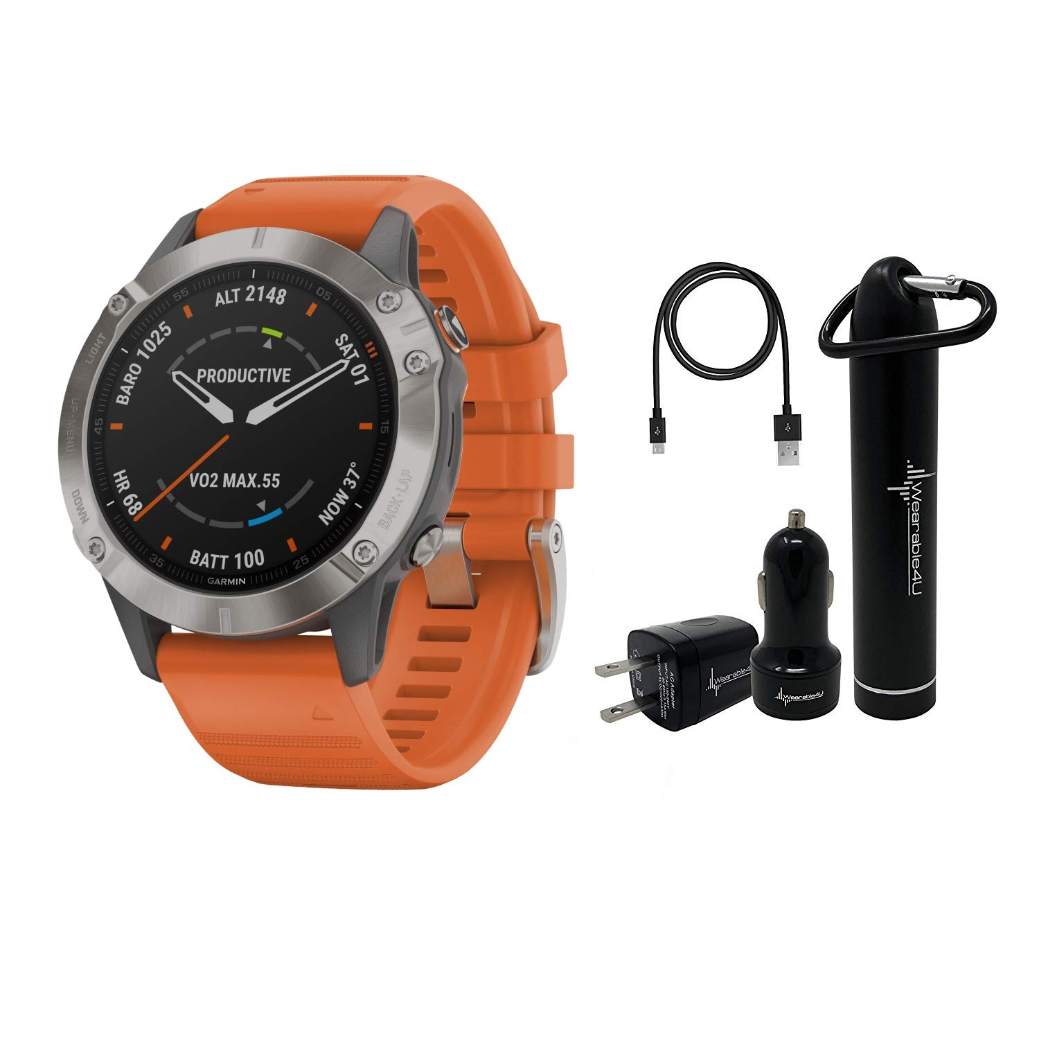 Garmin Fenix 6 Premium Multisport GPS Watch with Pulse Ox with Included Wearable4U Power Pack Bundle (Sapphire/Titanium with Ember Orange Band) by Wearable4U